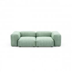 Canapé deux places avec accoudoirs Vetsak, velours côtelé couleur vert pâle