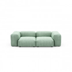 Canapé 2 places avec accoudoirs Vetsak, velours côtelé couleur vert pâle L.231 x H.60 x P.220,5 cm