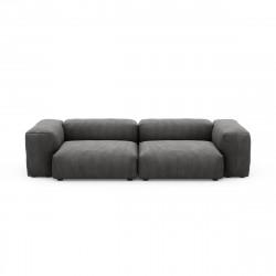 Canapé 2 à 3 places avec accoudoirs Vetsak, velours côtelé couleur gris foncé L.273 x H.60 x P.115,5 cm