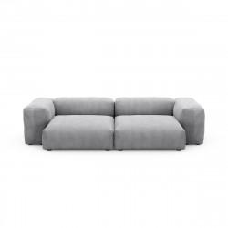 Canapé deux places avec accoudoirs taille L Vetsak, velours côtelé gris clair