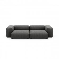 Canapé deux places avec accoudoirs taille L Vetsak, velours côtelé gris foncé