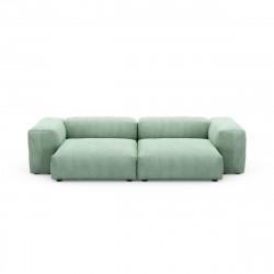 Canapé deux places avec accoudoirs taille L Vetsak, velours côtelé couleur vert pâle