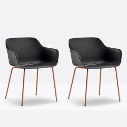 Lot de 2 fauteuils Babila XL 2734, Pedrali, assise sable, pieds noirs