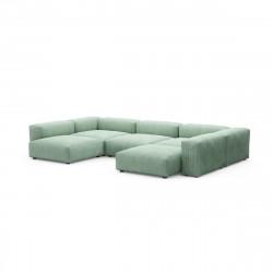 Canapé d\'angle en forme de U Vetsak, velours côtelé couleur vert pâle L.378 x H.60 x P.241,5 cm
