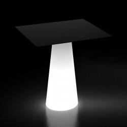 Table design Fura, base lumineuse Led RGB à batterie, intérieur et extérieur, Plust Collection, plateau noir 80 x 80 cm