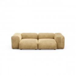 Canapé deux places avec accoudoirs taille S Vetsak, velours caramel