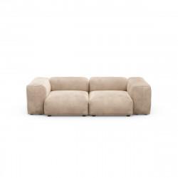 Canapé deux places avec accoudoirs taille S Vetsak, velours gris 'stone'