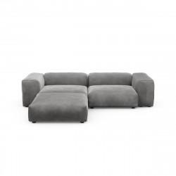 Canapé d\'angle Vetsak, velours gris foncé L.231 x H.60 x P.115,5 cm