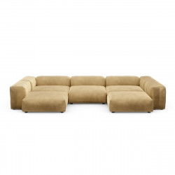 Canapé d\'angle en forme de U Vetsak, velours caramel L.378 x H.60 x P.241,5 cm