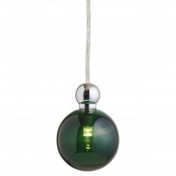 Suspension Uva, Ebb&Flow, vert, diamètre 7 cm, câble transparent, boule en laiton doré