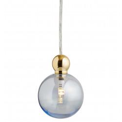 Suspension Uva, Ebb&Flow, bleu topaze, diamètre 7 cm, câble transparent, boule en laiton doré