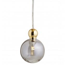 Suspension Uva, Ebb&Flow, gris fumé, diamètre 7 cm, câble transparent, boule en laiton doré