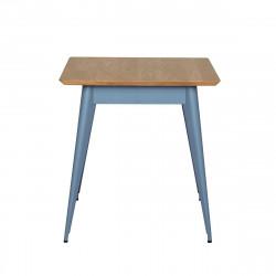 Table 55 Plateau Chêne, Bleu provence, Tolix, 70 X 70 X H74 cm