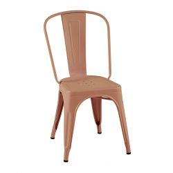 Lot de 2 chaises A Inox Brillant, Tolix rose fumé