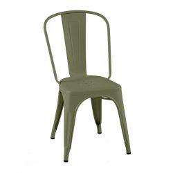 Lot de 2 chaises A Inox Brillant, Tolix vert olive