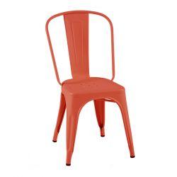 Lot de 2 chaises A Inox Brillant, Tolix corail