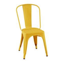 Lot de 2 chaises A Inox Brillant, Tolix bouton d'or