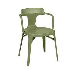 Chaise T14 Inox Brillant, Tolix vert olive