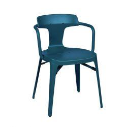 Chaise T14 Inox Brillant, Tolix bleu océan