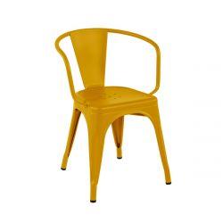 Fauteuil A56 Brillant, Tolix jaune moutarde