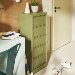Classeur à clapets CC5, Vert Olive, Fine texture, Tolix, 41 x 34,5 x H105,5 cm