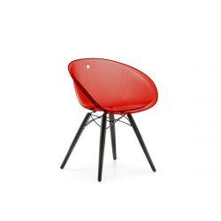 Lot de deux chaise Gliss Wood 905, Pedrali rouge transparent, pieds en frêne noir