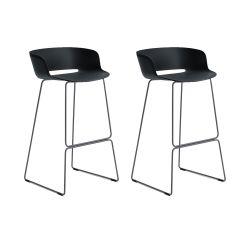 Lot de 2 tabourets Babila 2748, noir, pieds acier noir, Pedrali, hauteur d'assise 74,5 cm