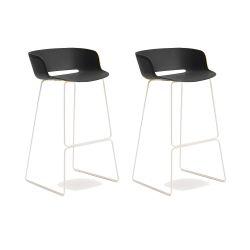 Lot de 2 tabourets Babila 2748, noir, pieds acier blanc, Pedrali, hauteur d'assise 74,5 cm