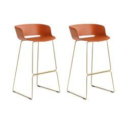 Lot de 2 tabourets Babila 2748, orange, pieds laiton antique, Pedrali, hauteur d'assise 74,5 cm