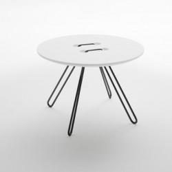 Table basse ronde Twine, Casamania blanc, structure noir, 50cm