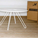 Table basse ronde Twine, Casamania blanc, structure blanc, 50cm