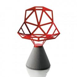 Chaise design One, Magis rouge, base gris béton verni