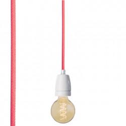 Suspension colorée douille blanche, Nud collection rose