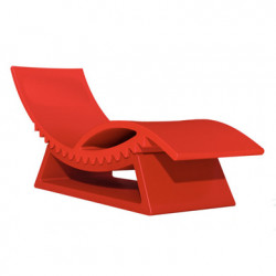Chaise longue et table basse Tic Tac, Slide Design rouge