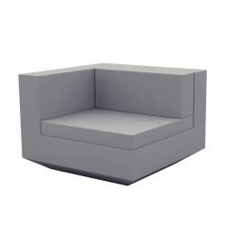 Module droit canapé Vela, Vondom, 100x100xH72cm gris argent