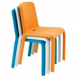 Lot de 4 chaises Snow 300, Pedrali orange