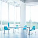 Day dream 401 chaise, Pedrali bleu transparent, pieds chrome