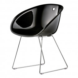 Gliss 921, fauteuil design, Pedrali noir, pieds chrome