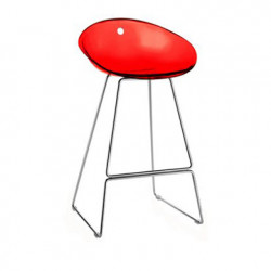 Gliss 902 tabouret sur pieds, Pedrali rouge transparent, pieds chrome