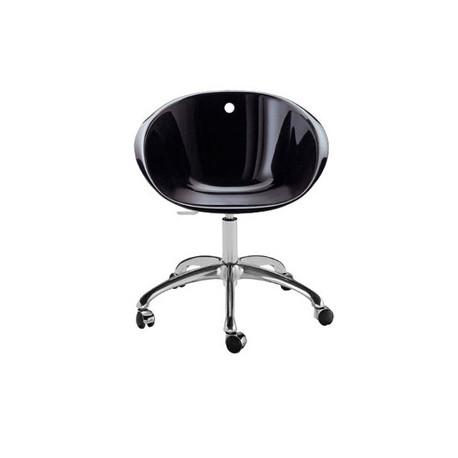 Gliss 961, fauteuil pivotant, Pedrali noir, pied aluminium poli