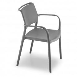 Lot de 4 chaises avec accoudoirs Ara 315, Pedrali gris anthracite