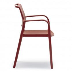 Lot de 4 chaises avec accoudoirs Ara 315, Pedrali rouge