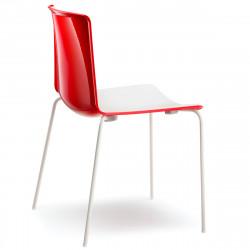 Chaise Tweet 890, Pedrali rouge, blanc Pieds vernis