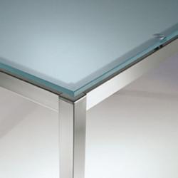 Kuadro table carrée, Pedrali, plateau en verre dépoli, 80x80cm