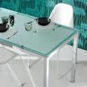 Kuadro table rectangulaire, Pedrali, plateau en verre dépoli 120x69cm