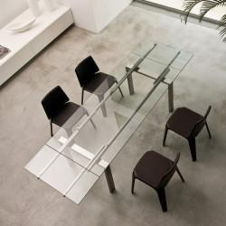 Magic, table à rallonges, Pedrali verre transparent, inox 200x90cm
