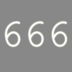 666, mot néon, Seletti blanc