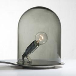 Lampe à poser Glow in a Dome, Ebb & Flow, gris fumé, base métal argenté, Diamètre 15,5 cm