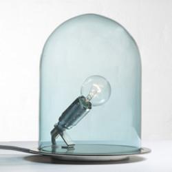 Lampe à poser Glow in a Dome, Ebb & Flow, bleu, base métal argenté, Diamètre 15,5 cm