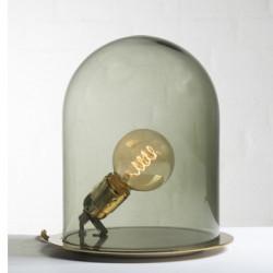 Lampe à poser Glow in a Dome, Ebb & Flow, vert olive, base métal argenté, Diamètre 15,5 cm